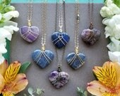 Gemstone Heart Necklaces >> Wire Wrapped Lapis or Amethyst Heart Pendants > Chakra Jewelry, Boho Luxe >> Choose One