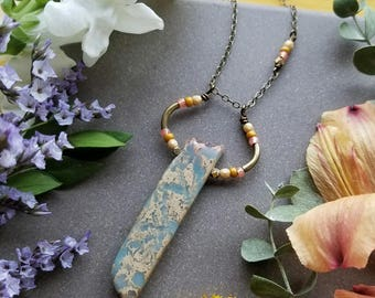 Aqua Terra Jasper Loop Necklace in Brass >> Blue & Beige Jasper with Peach and Yellow Accents >> Boho Style, Gemstone Jewelry