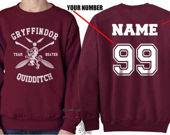 BEATER - Custom back Gryffin Quidditch team Beater White print on Maroon Crew neck Sweatshirt