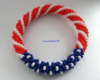 Roll on Beaded Bracelet/  Bangle with American Flag color/ Nepal Bracelet/ Armband/ Bracelet