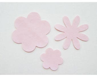 Set of 3 pale pink faux leather flower motifs