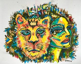 "Strong Woman Painting, Feminist, Original Painting, Lion, Portrait, Woman Gift, Street Art, Handmade Art, Decor, 11x14, Girls Room, ""King"""
