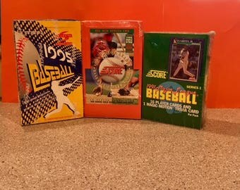 3 Unopened Wax Pack Baseball Cards