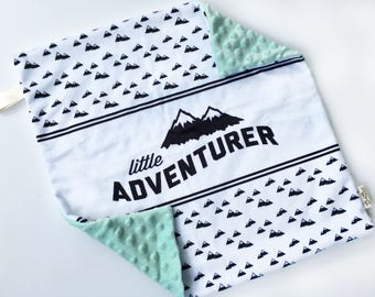 Little adventurer Blanket // Baby Lovey // Baby Girl // Baby Boy // Security Blanket // Minky Blanket