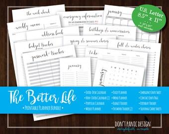 The Better Life Bundle: Printable Organizing Bundle - Beautiful Plan Your Life Printable Organizing Bundle - Home Planner - Instant Download