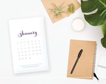 2018 Printable Monthly Calendar - Elegant Purple Blue 12 Month Desk Calendar Home Organizing - 2018 Instant Download Calendar