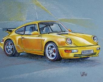 Original painting of a Porsche Carrera 2 911 BJ 1989 pastel calk