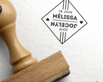 Rubber stamp wedding personalized graphic diamond and heart - names and wedding Date