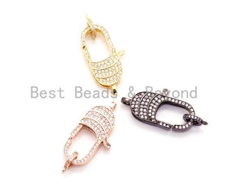 CZ Clear Micro Pave Lobster Claw Clasp, Cubic Zirconia Clasp/Connector/Link, Black CZ Clasp, 34x15mm, sku#H49