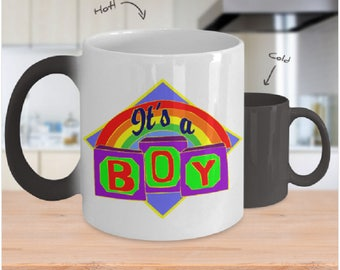 Custom Gender Reveal Color Changing Coffee Mugs