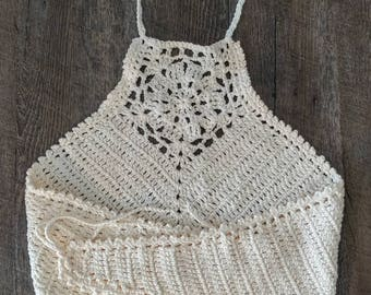 Buttercream crop top- plus sized crocheted top-music festival top- boho top-knit top-crocheted top