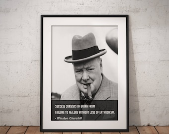 Winston Churchill, Quote poster, Typographic print, Inpirational Genius Quote, Sizes A4-A0