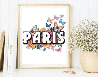 Paris print, Paris artwork, Paris painting, Butterflies art, Butterflies print, Fashion calligraphy, Fashion print, Fashion illustration
