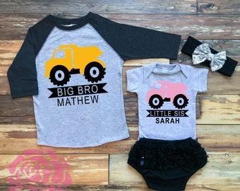 Big Brother Little Sister Shirt Set, Big Brother Little Sister Shirts, Big Brother Shirt, Little Sister Bodysuit, Dump Truck Sibling Shirts