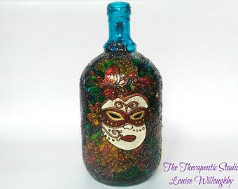Masquerade, venetian mask, hand painted, bottle, venice carnival, art, OOAK