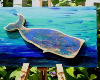 Diving whale wall art