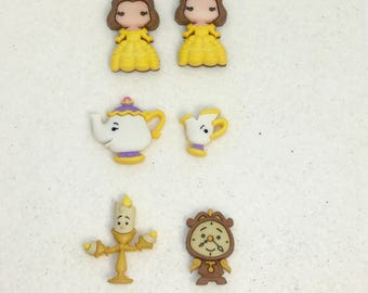 Mrs. Potts, Chip, Cogsworth, Lumiere, Belle Earrings