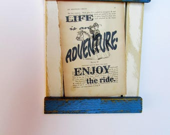 Motivational Saying, Distressed decor, Inspirational Decor, Reclaimed frame, Antique page 1923, Circus print, Old wood Decor, shower gift