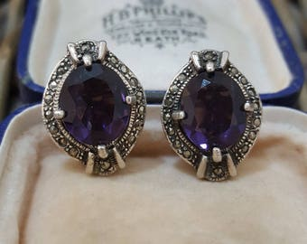 Vintage Sterling Silver Clip-on Earrings, Purple Paste and Marcasite