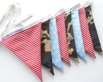 NEW! Red Candy Stripe, Camouflage and Blue Star Bunting