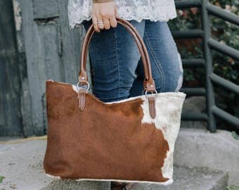 Gorgeous Brown and white Hereford cowhide large tote bag!