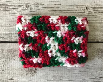 Crochet Coffee Cozy | Red, Green, & White Variegated | Coffee Sleeve | Crochet Gift | Handmade Coffee Sleeve