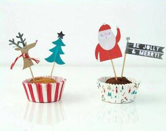 Christmas Party Decorations. Christmas Cupcake Toppers. Meri Meri Party. Santa Claus. Christmas Decorations. Christmas Party. Cupcakes