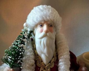 EGGcellent Easter Sale Kurt Adler Santa's World Santa Claus Father Christmas St Nicholas 8.5 inch Tall Doll Ornament, 1986 Porcelain Adler S
