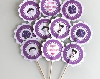 10 décorations pour petits gateaux (cupcakes toppers ) violet thème japon