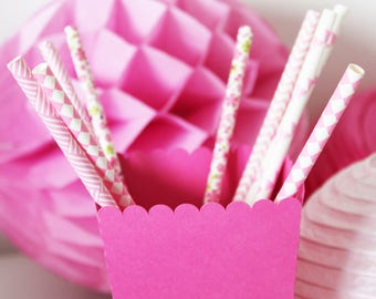 Set of 10 straws - roses - flowers, diamonds, flags, rice straw