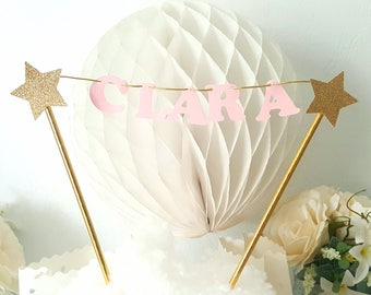 Mini cake Garland - custom name-straws and stars-gold pink letters