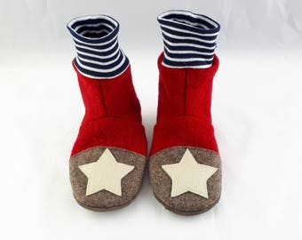 Size 28/29 slippers made of wool with leather sole, non-slip socks, hut shoes, warm slippers, warm indoor shoes, indoors