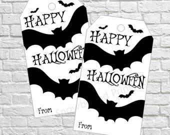 Halloween Gift Tags, Halloween Favor Tags, Bat Tags, Halloween Printable, Kids Halloween Tags, Black Bats, Printable Halloween Favor Tags