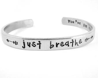 Just Breathe Bracelet, Inspirational Cuff, You've Got This Positive Affirmation, Relaxation Jewelry, Hand Stamped Stacking Bracelet