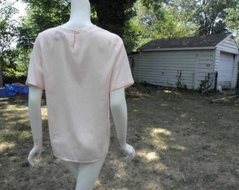 Vintage Light Pink Square Boxy Short Sleeves Blouse