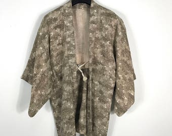 D753 Vintage Japanese Haori Kimono Womens Silk Cardigan Jacket Light Brown