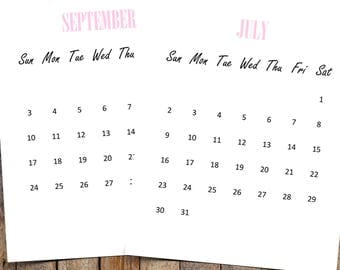2017 - 2018 Wall Calendar   2017 Calendar, Desk Calendar, Calendar Printable   Editable for MS Word   Instant Download