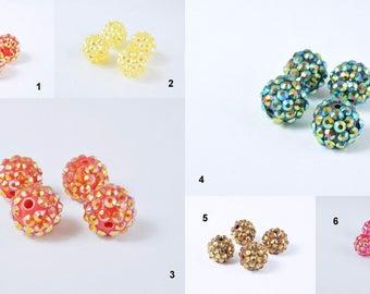 14mm Rhinestone Resin Beads, Shamballa, Round Ball Beads, for Macrame Bracelet, Basketball wives Earring 6 Colors set of 10 PCs