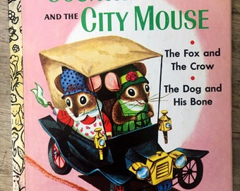 The country mouse,the city mouse,little golden,richard scarry, collectible book, aesops fables, fox and the crow, dog and bone, 1st ed