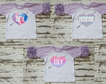 Girls ruffled raglan shirt, baby girl shirt, personalized heart ruffled raglan,  icing raglan