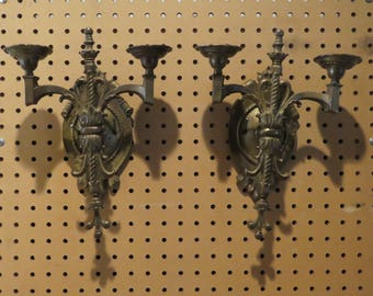 "Antique Victorian Pair of Bronze 2 Arm Wall Candle Sconces Marked ""E1"""