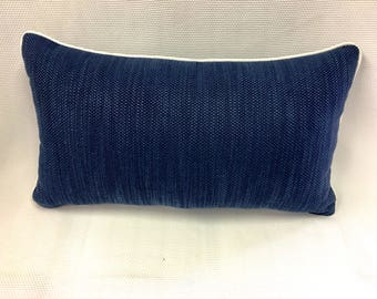 Duralee Blue and White Contrast Pillow Cover, Eurosham or Lumbar Pillow Accent Pillow, Throw Pillow