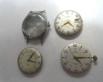 Vintage Helbros Complete Watch and 2 Movements Parts or Repair 31mm Case