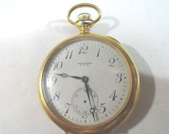 1919 Waltham 7 jewel Pocket Watch Running Parts or Repair 46mm 14 Size