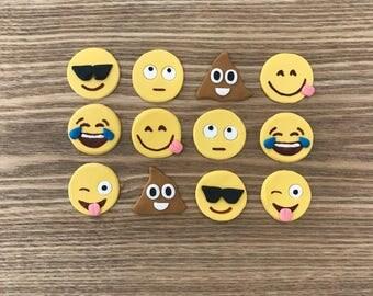 24x Edible Mini Emoji cake toppers