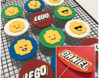 12x Edible Lego cupcake toppers + Cardstock cake topper