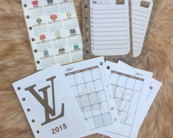 2018 Combo Printed Designer Inspired Month on 2 Pages Inserts/ 2018 Calendar/ To Do pages/ LV inserts/