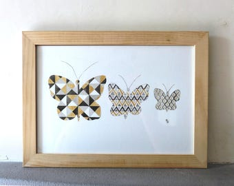 Original watercolor, 3 butterflies black, gray and golden, collection, abstract, modern