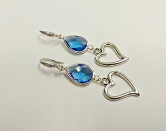 Blue earrings, crystal earrings, blue drop earrings, teardrop earrings, heart pendant, silver earrings, gloss earrings