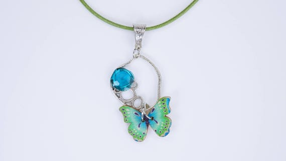 Butterfly Necklace in turquoise-blue-green on green leather band Butterflies wood with rhinestones in light blue Mother's Day gift